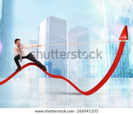 Determinated businessman with much effort lifts statistics - stock photo