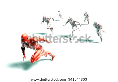 Determination or Determined Leader Leading the Team - stock photo
