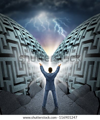 Determination to succeed with a business man magically opening up and parting a complicated maze  to a clear path to success with dramatic thunder as a concept of power to surmount challenges. - stock photo