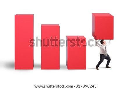 Determined businessman holds a statistic with fatigue - stock photo