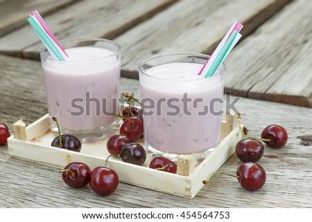 Detox. Cherry dessert, smoothie, milkshake. Concept: proper nutrition. - stock photo