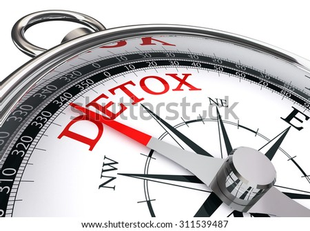 detox red word on conceptual compass, isolated on white background - stock photo
