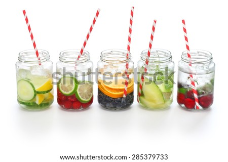 detox water on white background, cleanse body and burn fat - stock photo