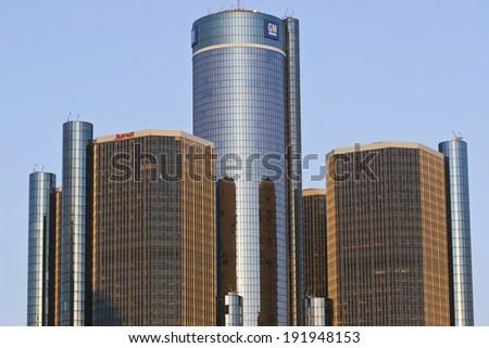 DETROIT - CIRCA MARCH 2008 General Motors Headquarters - General Motors Headquarters in Detroit Skyline (Editorial Photograph taken March 2008) - stock photo
