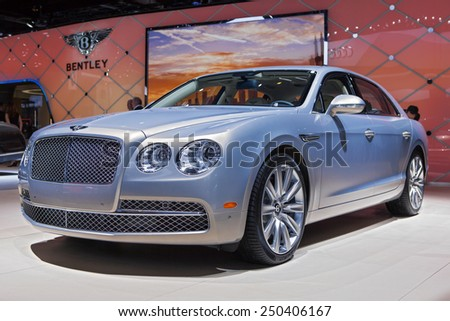 DETROIT - JANUARY 12: A Bentley on display January 12th, 2015 at the 2015 North American International Auto Show in Detroit, Michigan. - stock photo
