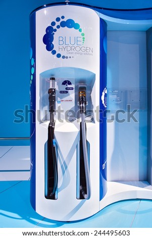 DETROIT - JANUARY 13: A Blue Hydrogen hydrogen fuel dispenser on display January 13th, 2015 at the 2015 North American International Auto Show in Detroit, Michigan. - stock photo