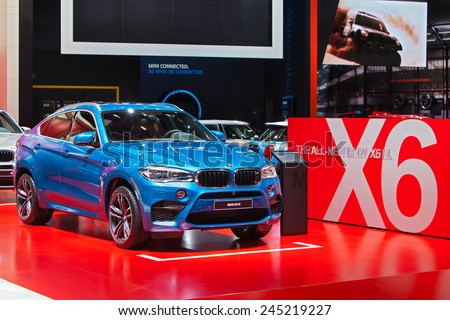 DETROIT - JANUARY 13: A BMW X6 M on display January 13th, 2015 at the 2015 North American International Auto Show in Detroit, Michigan. - stock photo
