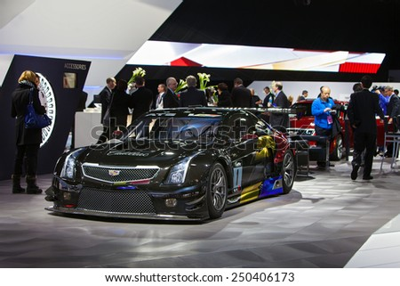 DETROIT - JANUARY 12: A Cadiallac CTS race car on display January 12th, 2015 at the 2015 North American International Auto Show in Detroit, Michigan. - stock photo