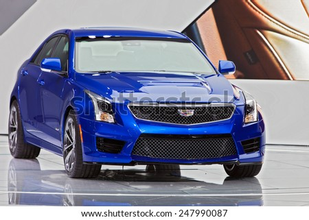 DETROIT - JANUARY 12: A Cadillac ATS V on display January 12th, 2015 at the 2015 North American International Auto Show in Detroit, Michigan. - stock photo