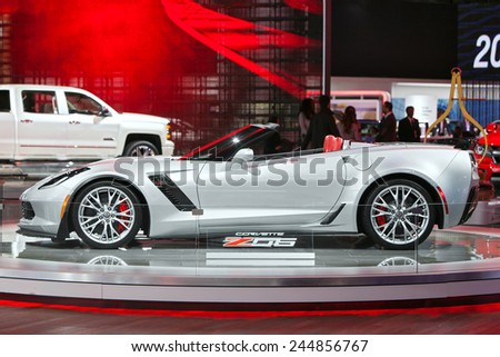 DETROIT - JANUARY 15: A 2015 Chevy Corvette on display January 15th, 2015 at the 2015 North American International Auto Show in Detroit, Michigan. - stock photo