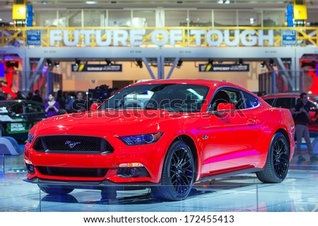 DETROIT - JANUARY 14 : A Ford Mustang on display at the North American International Auto Show media preview  January 14, 2014 in Detroit, Michigan. - stock photo