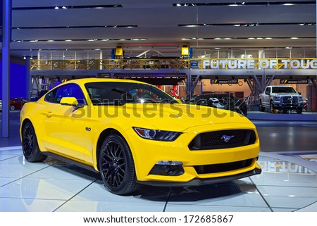 DETROIT - JANUARY 16 : A 2015 Ford Mustang on display at the North American International Auto Show media preview  January 16, 2014 in Detroit, Michigan. - stock photo