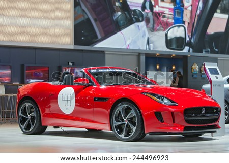 DETROIT - JANUARY 13: A Jaguar F-Type convertible on display January 13th, 2015 at the 2015 North American International Auto Show in Detroit, Michigan. - stock photo