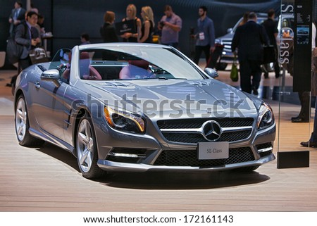 DETROIT - JANUARY 13 : A Mercedes Benz SL550 on display at the North American International Auto Show media preview  January 13, 2014 in Detroit, Michigan. - stock photo