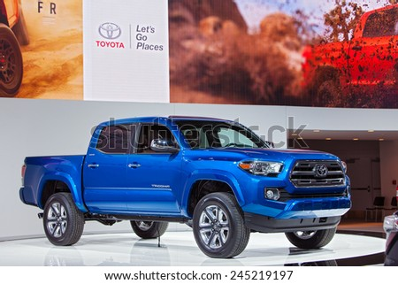 DETROIT - JANUARY 13: A Toyota Tacoma Truck on display January 13th, 2015 at the 2015 North American International Auto Show in Detroit, Michigan. - stock photo