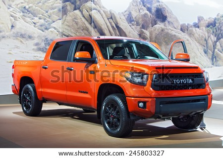 DETROIT - JANUARY 13: A Toyota Tundra TRD PRO Truck on display January 13th, 2015 at the 2015 North American International Auto Show in Detroit, Michigan. - stock photo
