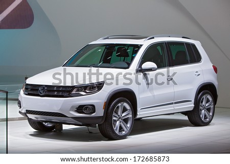 DETROIT - JANUARY 16 : A Volkswagen Tiguan at the North American International Auto Show media preview  January 16, 2014 in Detroit, Michigan. - stock photo