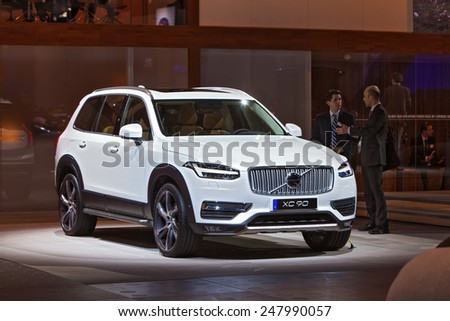 DETROIT - JANUARY 13: A Volvo XC90 on display January 13th, 2015 at the 2015 North American International Auto Show in Detroit, Michigan. - stock photo