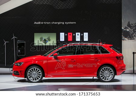 DETROIT - JANUARY 14 : Audi E-Tron Wagon electric vehicle on display at the North American International Auto Show media preview  January 14, 2014 in Detroit, Michigan. - stock photo
