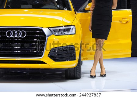 DETROIT - JANUARY 12: Detail of the Audi Q3 SUV  January 12th, 2015 at the 2015 North American International Auto Show in Detroit, Michigan. - stock photo