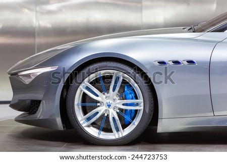 DETROIT - JANUARY 15: Detail of the front profile of the new Maserati Aefini January 13th, 2015 at the 2015 North American International Auto Show in Detroit, Michigan. - stock photo