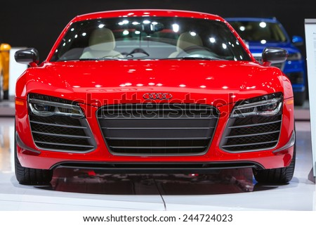 DETROIT - JANUARY 15: Front detail view of the Audi R8 January 13th, 2015 at the 2015 North American International Auto Show in Detroit, Michigan. - stock photo