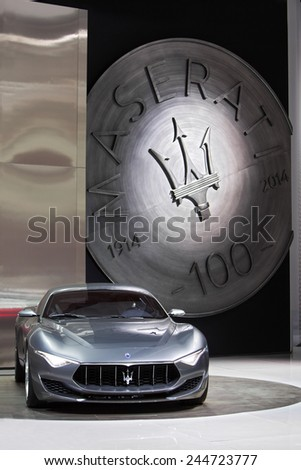 DETROIT - JANUARY 15: Rear view of the Maserati Alfieri concept January 13th, 2015 at the 2015 North American International Auto Show in Detroit, Michigan. - stock photo