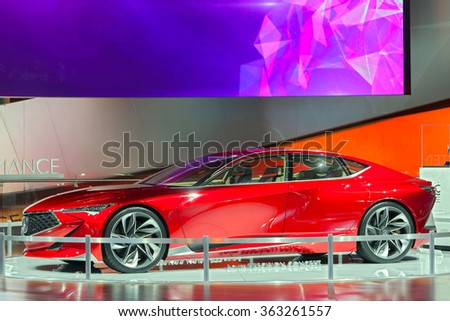 DETROIT - JANUARY 13: The Acura Precision concept on display at the North American International Auto Show media preview January 13, 2016 in Detroit, Michigan. - stock photo