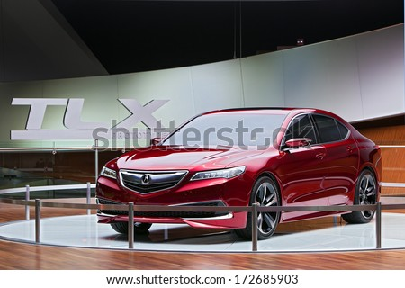 DETROIT - JANUARY 16 : The Acura TLX Prototype on display at the North American International Auto Show media preview  January 16, 2014 in Detroit, Michigan. - stock photo
