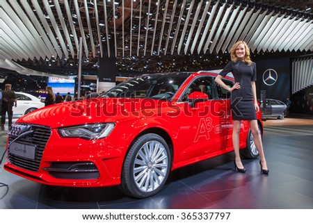 DETROIT - JANUARY 12: The Audi A3 e-Tron on display at the North American International Auto Show media preview January 12, 2016 in Detroit, Michigan. - stock photo