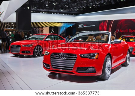 DETROIT - JANUARY 13: The 2016 Audi S5 covertible on display at the North American International Auto Show media preview January 13, 2016 in Detroit, Michigan. - stock photo