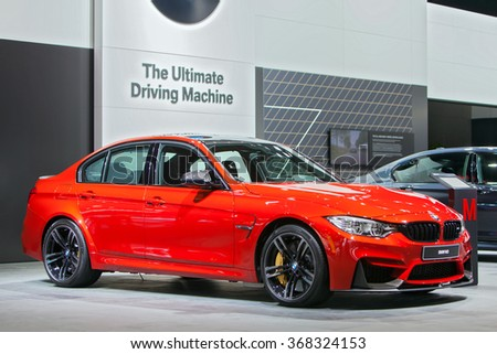 DETROIT - JANUARY 11: The BMW M3 on display at the North American International Auto Show media preview January 11, 2016 in Detroit, Michigan. - stock photo
