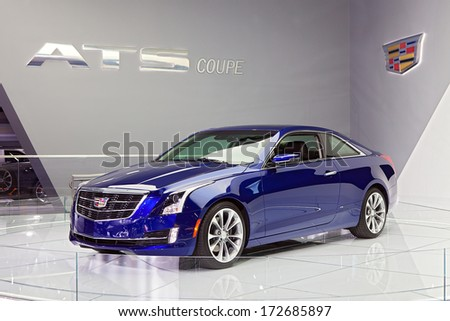 DETROIT - JANUARY 16 : The Cadillac ATS Coupe at the North American International Auto Show media preview  January 16, 2014 in Detroit, Michigan. - stock photo