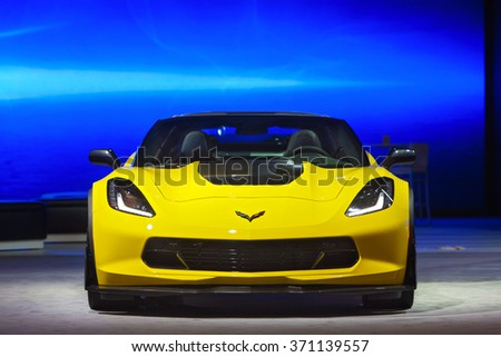 DETROIT - JANUARY 12: The 2017 Chevy Corvette Z06 on display at the North American International Auto Show media preview January 12, 2016 in Detroit, Michigan. - stock photo
