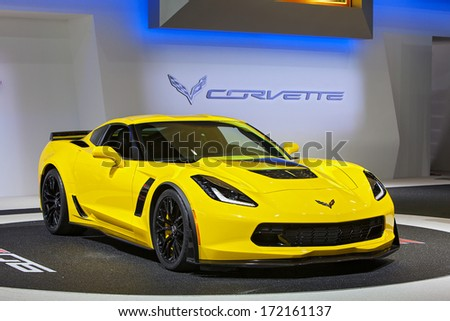 DETROIT - JANUARY 14 : The 2015 Corvette Z06 on display at the North American International Auto Show media preview  January 14, 2014 in Detroit, Michigan. - stock photo