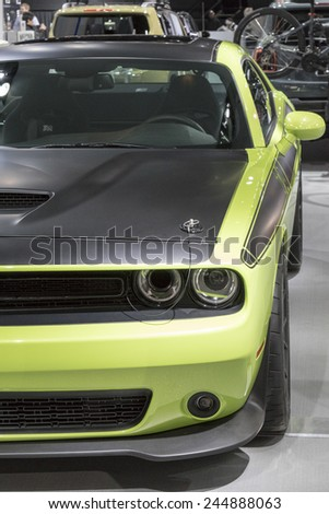 DETROIT - JANUARY 13 :The 2016 Dodge Challenger at The North American International Auto Show January 13, 2015 in Detroit, Michigan. - stock photo