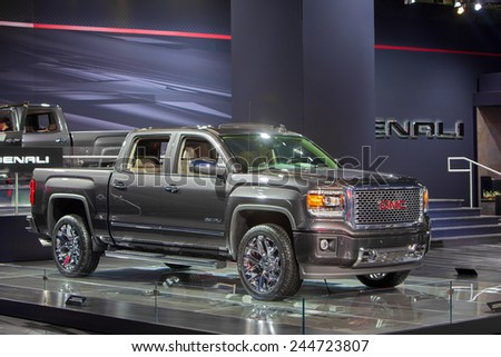 DETROIT - JANUARY 15: The GMC Denali pickup truck January 13th, 2015 at the 2015 North American International Auto Show in Detroit, Michigan. - stock photo