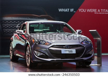DETROIT - JANUARY 15: The Hyundai Genesis Coupe on display January 15th, 2015 at the 2015 North American International Auto Show in Detroit, Michigan. - stock photo