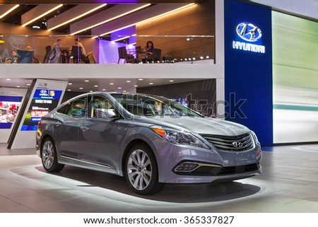 DETROIT - JANUARY 13: The Hyundai Sonata on display at the North American International Auto Show media preview January 13, 2016 in Detroit, Michigan. - stock photo