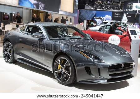 DETROIT - JANUARY 13 :The 2015 jaguar f-type coupe at The North American International Auto Show January 13, 2015 in Detroit, Michigan. - stock photo