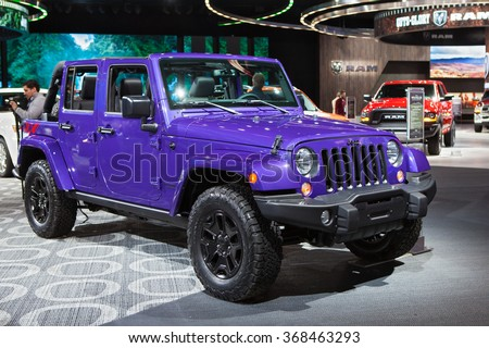 DETROIT - JANUARY 12: The 2017 Jeep Wrangler on display at the North American International Auto Show media preview January 12, 2016 in Detroit, Michigan. - stock photo
