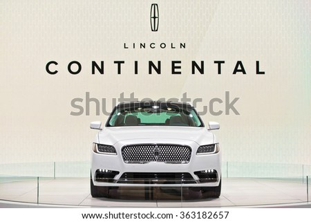 DETROIT - JANUARY 13: The 2017 Lincoln Continental on display at the North American International Auto Show media preview January 13, 2016 in Detroit, Michigan. - stock photo