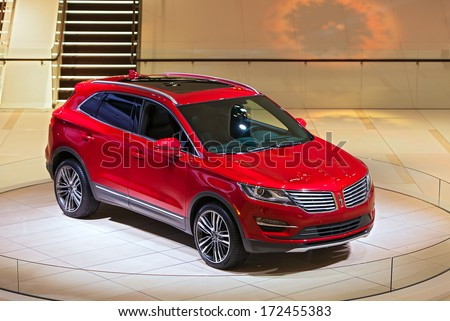DETROIT - JANUARY 14 : The Lincoln MKC on display at the North American International Auto Show media preview  January 14, 2014 in Detroit, Michigan. - stock photo