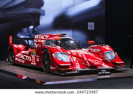 DETROIT - JANUARY 15: The Mazda Skyactiv race car January 13th, 2015 at the 2015 North American International Auto Show in Detroit, Michigan. - stock photo