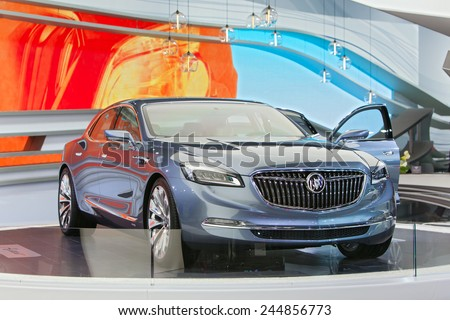 DETROIT - JANUARY 15: The new Buick Avenir concept on display January 15th, 2015 at the 2015 North American International Auto Show in Detroit, Michigan. - stock photo