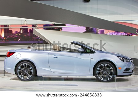 DETROIT - JANUARY 15: The new Buick Cascada convertible on display January 15th, 2015 at the 2015 North American International Auto Show in Detroit, Michigan. - stock photo