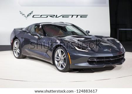 DETROIT - JANUARY 15 : The new 2014 Covette C7 Stingray at The North American International Auto Show  January 15, 2013 in Detroit, Michigan. - stock photo