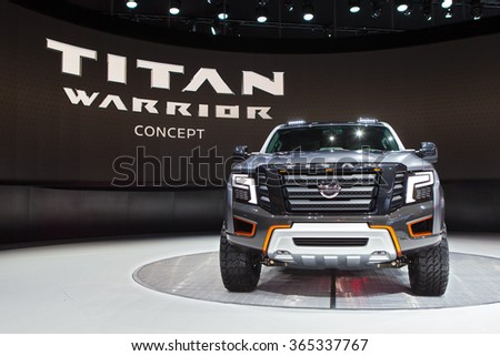 DETROIT - JANUARY 13: The Nissan Titan Warrior Concept on display at the North American International Auto Show media preview January 13, 2016 in Detroit, Michigan. - stock photo