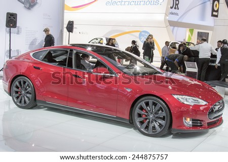 DETROIT - JANUARY 13 :The 2016 Telsa Model S at The North American International Auto Show January 13, 2015 in Detroit, Michigan. - stock photo