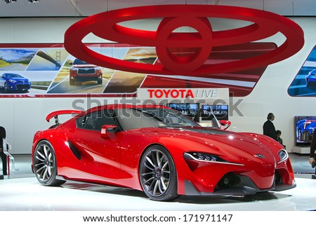 DETROIT - JANUARY 16 : The Toyota FT-1 Concept on display at the North American International Auto Show industry preview  January 14, 2014 in Detroit, Michigan. - stock photo